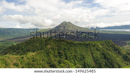 Batur volcano mountain with two crater at Kintamani, Bali, Indonesia