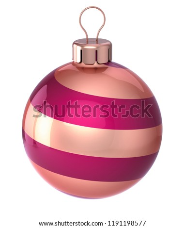 bauble Christmas ball decoration closeup red golden striped modern decor. New Year's Eve hanging adornment traditional, Merry Xmas wintertime ornament glossy. 3d illustration