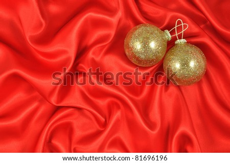 Baubles on Crimson Satin - stock photo