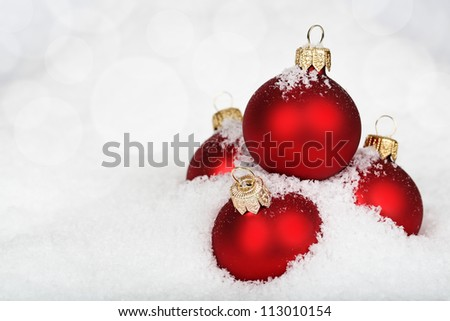 Baubles on the snow.