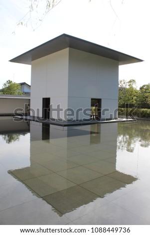 bauhaus house with lake #1088449736