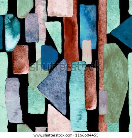 Bauhaus pattern. Indigo blue geometric watercolor abstract seamless print. Watercolour stripe background. Kaleidoscope lines. Contemporary art illustration. Bauhaus graphic design. Trendy texture
