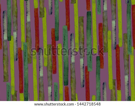 Bauhaus Seamless Pattern. Watercolor Geometric  Purple Violet Lines Design. Art Organic Geo Background. Large Contemporary Minimal Print. Trendy Fun Abstract Paint Watercolour Colour Stripes. #1442718548