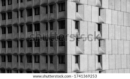 """Photo of  Bauhaus styled building """"Cassiopee"""" in French Alps, skiing resort Flaine"""