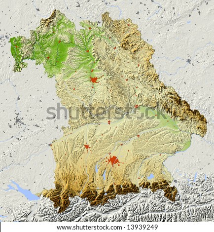 Bavaria, Germany. Shaded relief map of the federal state of Bavaria (Bayern). Surrounding territory greyed out. Colored according to elevation. Includes clip path for the state area.