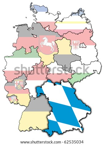 Bavaria on old administration map of german provinces (states) with clipping path