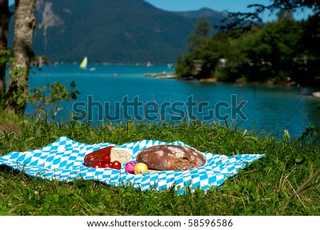 bavaria picnic with bread cheese egg