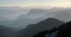 Bavarian Alps, Germany, haze over mountains at a autumn evening