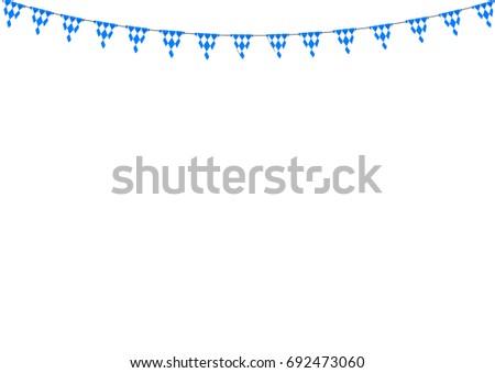 Bavarian bunting festoon from Germany with diamond pattern. Oktoberfest decoration.