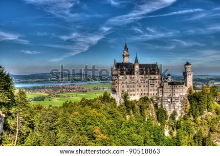 Bavarian Castle in blue skies