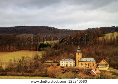 Bavarian country church on a warm and rainy December day
