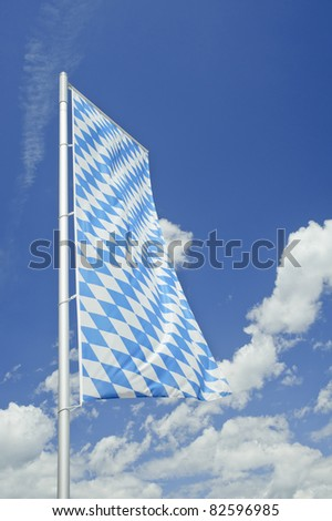 Bavarian flag with blue sky in Germany.