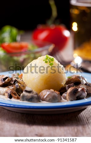 bavarian mushroom sauce with potato dumpling