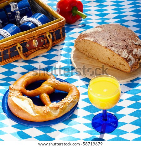 bavarian picnic cloth with basket and food on it