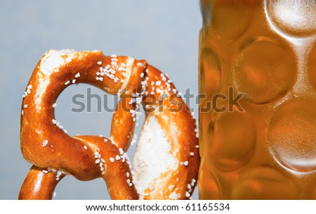 Bavarian pretzel with beer