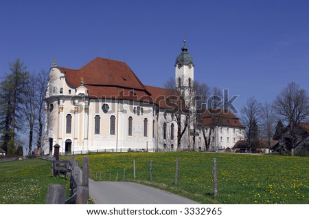 Bavarian Wieskirche, one of the most famous places of pilgrimage in Germany