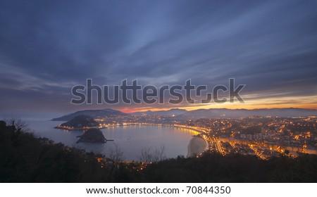 bay and beach of La Concha, Donostia, Gipuzkoa - stock photo