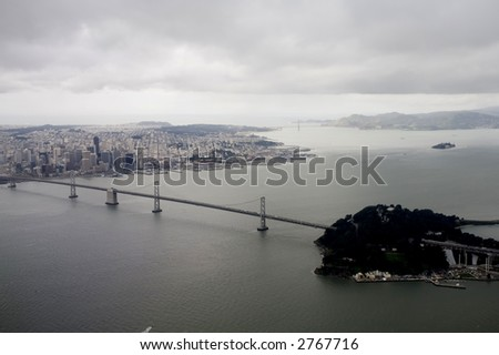 Bay Bridge Aeriel View and San Francisco - stock photo
