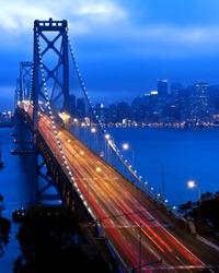 bay bridge and san francisco at night