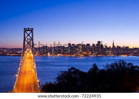 Bay Bridge at sunset and twilight time, San Francisco, United States of America