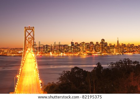 bay bridge at twilight. San Francisco, USA.