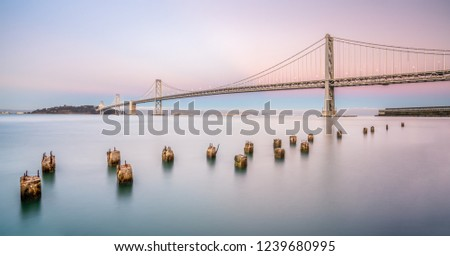Bay Bridge is located in California, US, and connects San Francisco and Oakland. Its construction finished in 1936 and is one of the main landmarks of San Francisco.