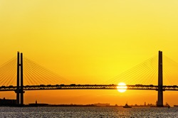 Bay Bridge over sunrise in Yokohama, Japan