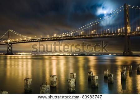 Bay Bridge, San Francisco under the moon light