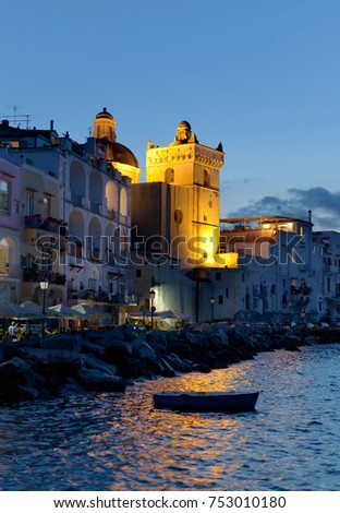 Bay by night of Ischia island, Italy #753010180