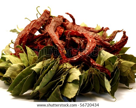bay leaf & red peppers - stock photo