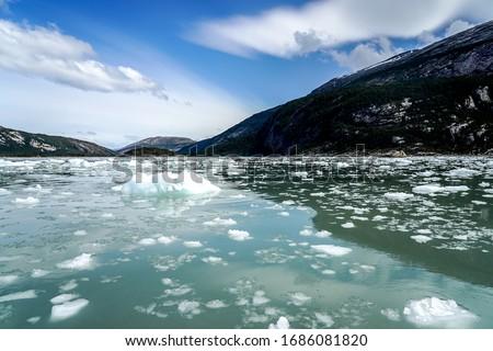 Bay near Pia Glacier in Parque Nacional Alberto de Agostini in the Beagle Channel of Patagonia, Chile stock photo