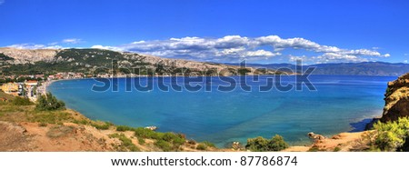 Bay of Baska, Island of Krk, Croatia - beautiful long peebles beach