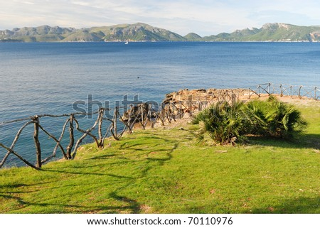 Bay of Pollenca near Alcudia, North Majorca - stock photo