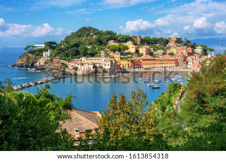 Bay of Silence in Sestri Levante, Italy, a popular resort town in Liguria on italian Mediterranean sea coast Stock photo ©