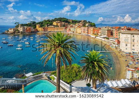 Bay of Silence in Sestri Levante, Italy. Sestri Levante is a popular resort town in Liguria, situated on a peninsula on italian Mediterranean sea coast between Genoa and Cinque Terre,  Stock photo ©
