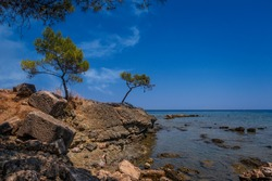 Bay of the Mediterranean sea near the ancient city of Faselis. Turkey. August 2020