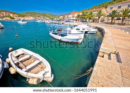 Bay of Vela Luka on Korcula island waterfront view, archipelago of southern Dalmatia, Croatia Foto stock ©