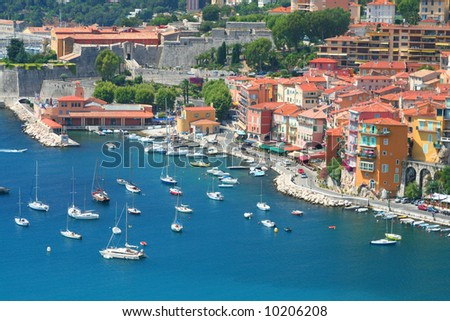 Bay of Villefranche-sur-mer in the Cote d'Azur in France.