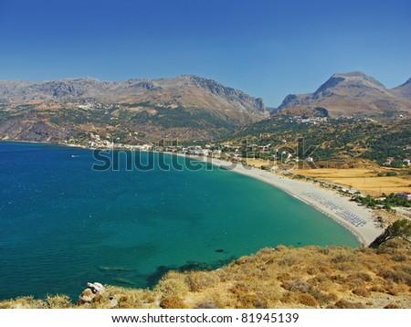 bay on crete island near plakias, greece