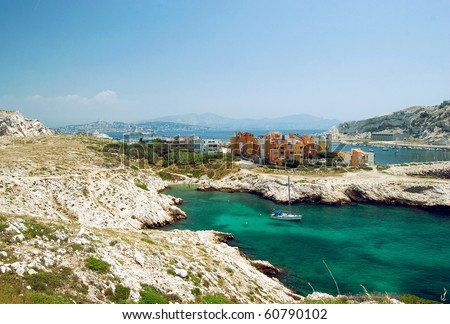 Bay on the island Frioul with look onto the Chateau dIf and on Marseille