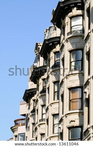 Bay windows in elegant apartment building of Back Bay, Boston