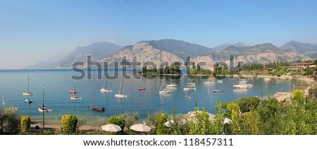 bay with sailing boats, nearby malcesine, garda lake
