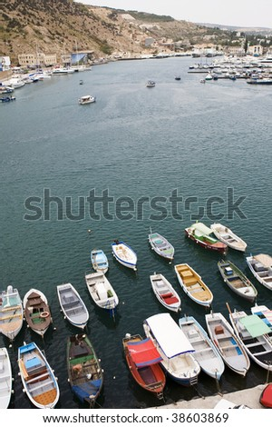 bay with yachts and boats from top