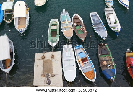 bay with yachts and boats from top - stock photo