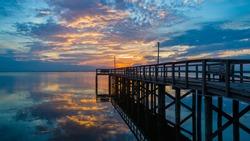 Bayfront Park Pavilion in Daphne, Alabama at sunset