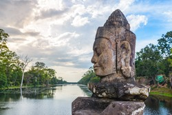 Bayon, Angkor Thom temple, world famous travel destination, Cambodia tourism. Details of Stone faces sculpture and rock carvings. Buddhism meditation concept.