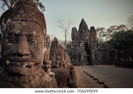 Bayon stone statue ,siem reap ,Cambodia, was inscribed on the UNESCO World Heritage List in 1992. #706690099