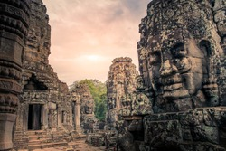 Bayon temple in Siem Reap ancient faces with cloudy day