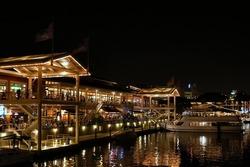 Bayside by night, Miami, Florida