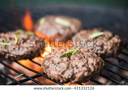 bbq burgers, smoke and fire, copy space
